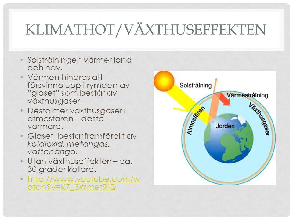 """KLIMATHOT/VÄXTHUSEFFEKTEN • Solstrålningen värmer land och hav. • Värmen hindras att försvinna upp i rymden av """"glaset"""" som består av växthusgaser. •"""