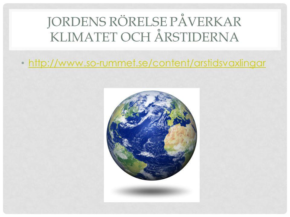 JORDENS RÖRELSE PÅVERKAR KLIMATET OCH ÅRSTIDERNA • http://www.so-rummet.se/content/arstidsvaxlingar http://www.so-rummet.se/content/arstidsvaxlingar