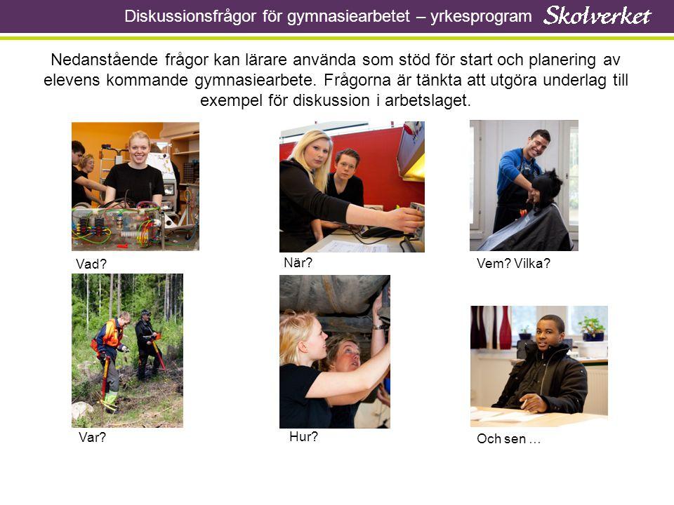 Gymnasiearbete – Vad.Diskussionsfrågor: 1.Vad innebär målet för gymnasiearbetet.