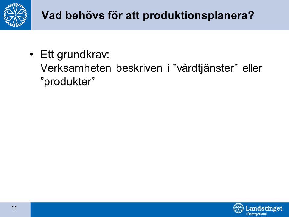 """11 Vad behövs för att produktionsplanera? •Ett grundkrav: Verksamheten beskriven i """"vårdtjänster"""" eller """"produkter"""""""