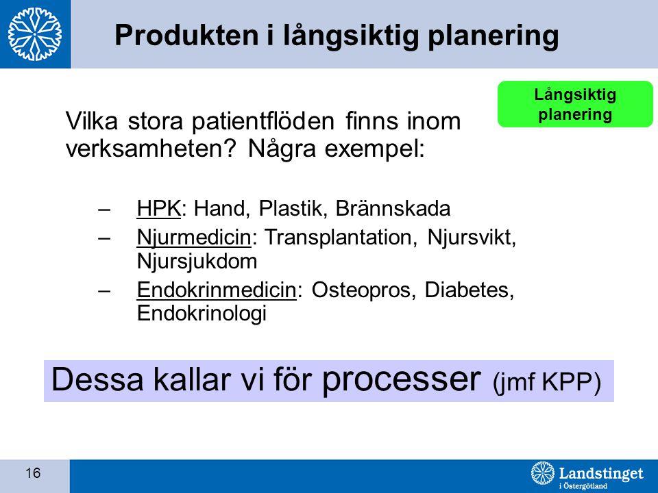 16 Långsiktig planering Dessa kallar vi för processer (jmf KPP) Vilka stora patientflöden finns inom verksamheten? Några exempel: –HPK: Hand, Plastik,