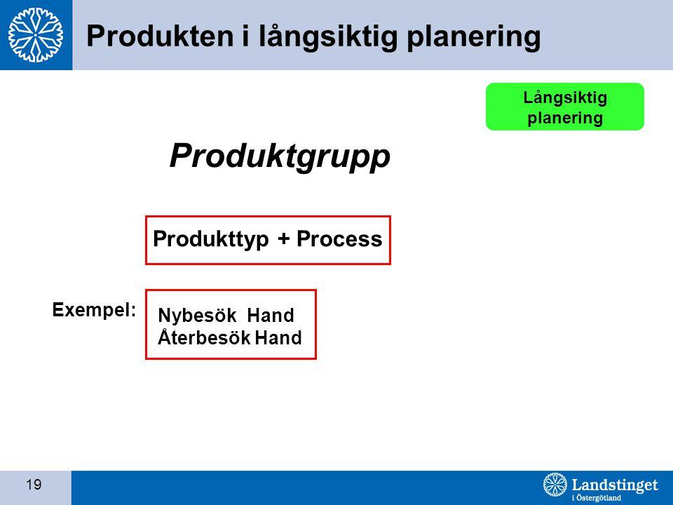 19 Produkttyp + Process Produktgrupp Exempel: Nybesök Hand Återbesök Hand Långsiktig planering Produkten i långsiktig planering