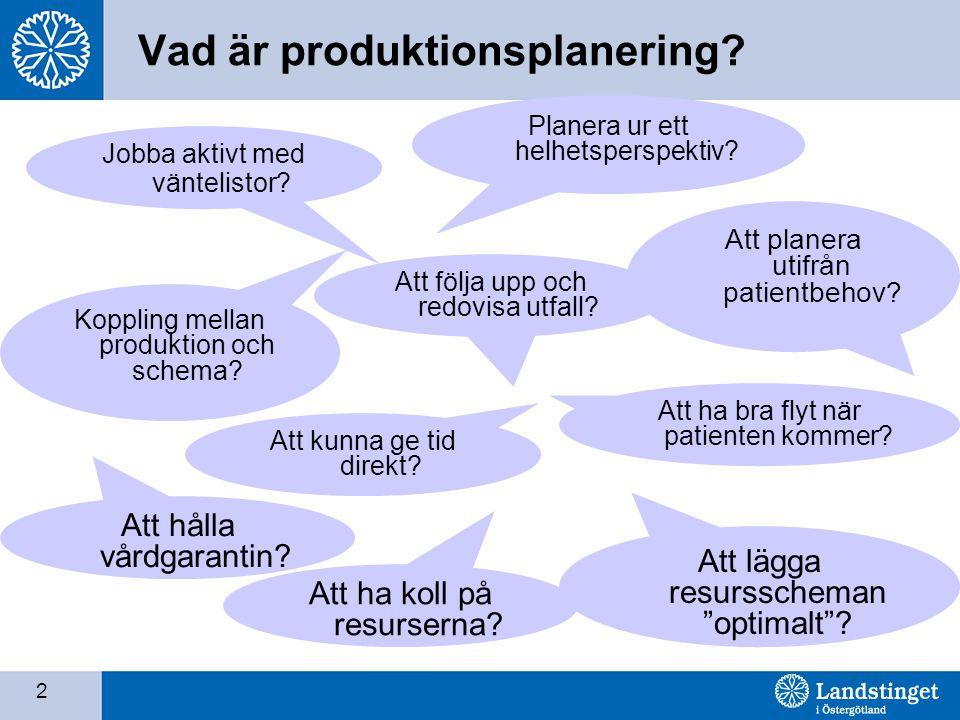 2 Vad är produktionsplanering? Planera ur ett helhetsperspektiv? Koppling mellan produktion och schema? Att planera utifrån patientbehov? Att hålla vå
