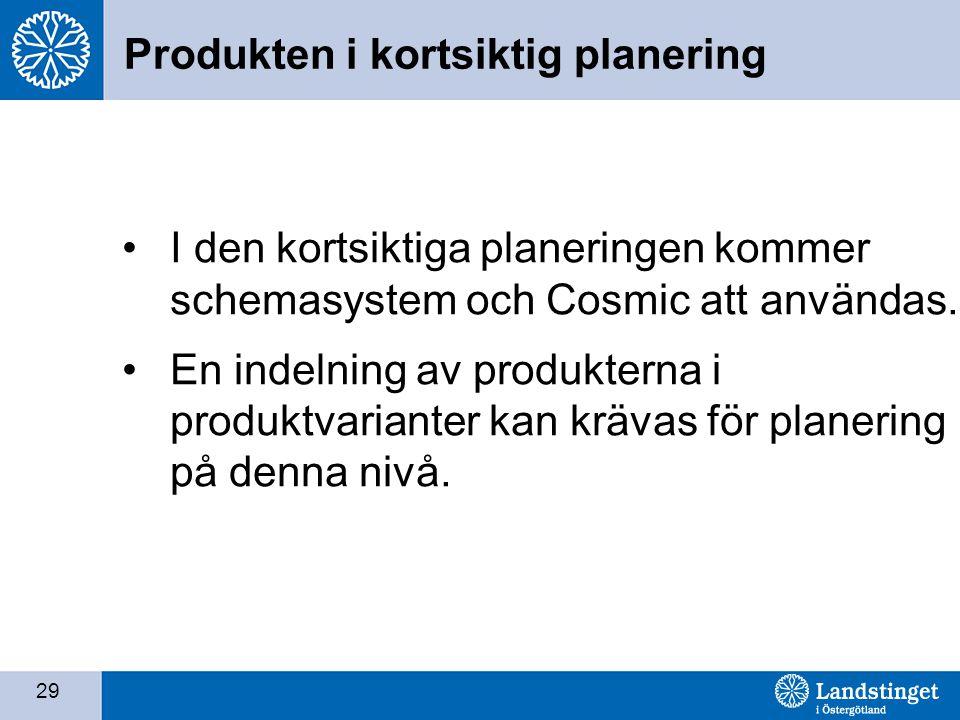29 •I den kortsiktiga planeringen kommer schemasystem och Cosmic att användas. •En indelning av produkterna i produktvarianter kan krävas för planerin