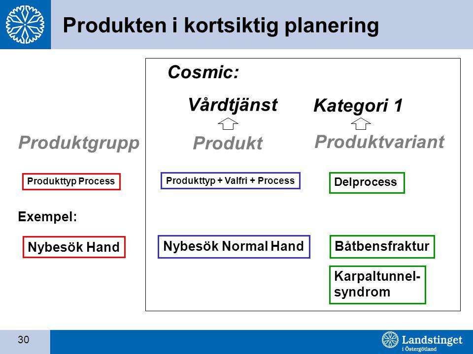 30 Produkttyp + Valfri + Process Produkt Exempel: Nybesök Normal Hand Delprocess Produktvariant Båtbensfraktur Karpaltunnel- syndrom Cosmic: Vårdtjänst Kategori 1 Produktgrupp Produkttyp Process Nybesök Hand Produkten i kortsiktig planering