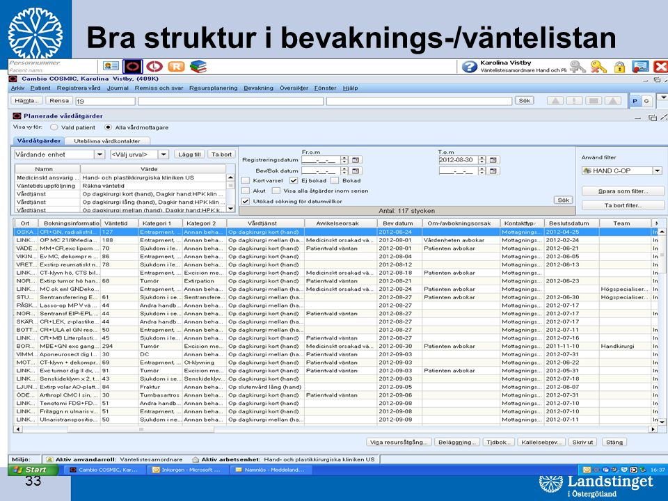33 Bra struktur i bevaknings-/väntelistan