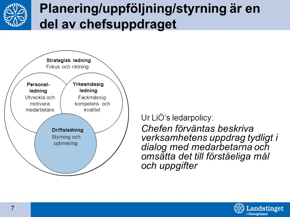 7 Planering/uppföljning/styrning är en del av chefsuppdraget Personale ledelse Sikring af ressourcer Faglig ledelse Faglig kompetence og kvalitet Drif