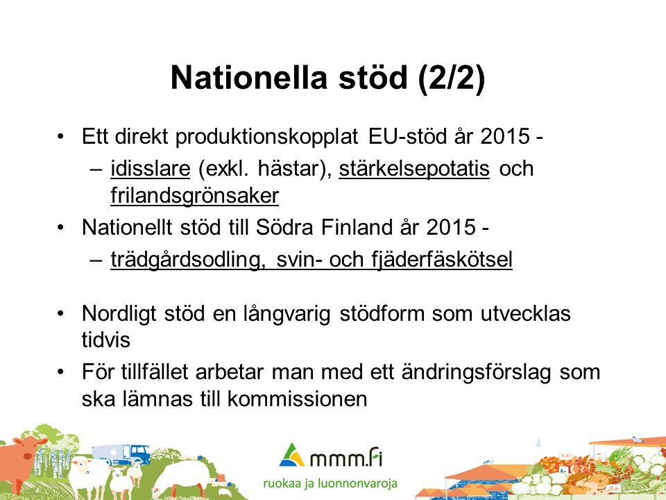 Nationella stöd (2/2) •Ett direkt produktionskopplat EU-stöd år 2015 - –idisslare (exkl. hästar), stärkelsepotatis och frilandsgrönsaker •Nationellt s