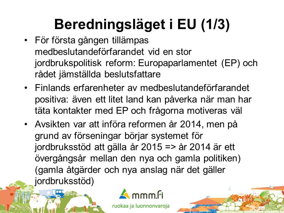 Beredningsläget i EU (1/3) •För första gången tillämpas medbeslutandeförfarandet vid en stor jordbrukspolitisk reform: Europaparlamentet (EP) och råde