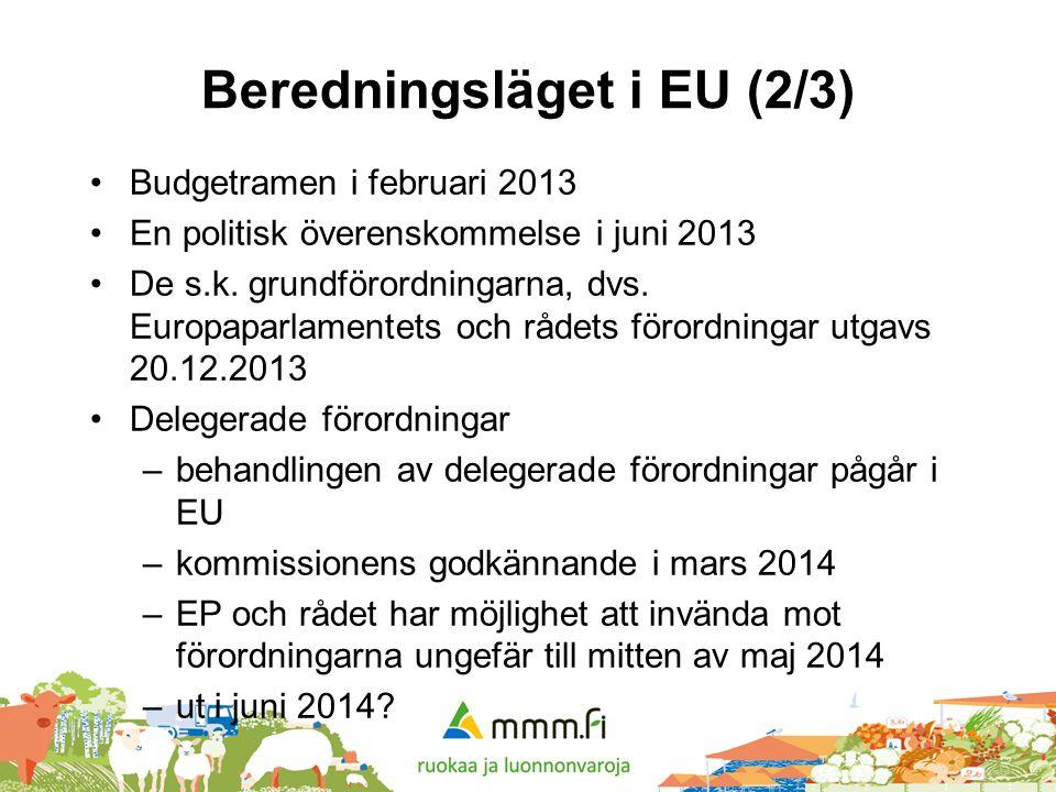 Beredningsläget i EU (2/3) •Budgetramen i februari 2013 •En politisk överenskommelse i juni 2013 •De s.k. grundförordningarna, dvs. Europaparlamentets