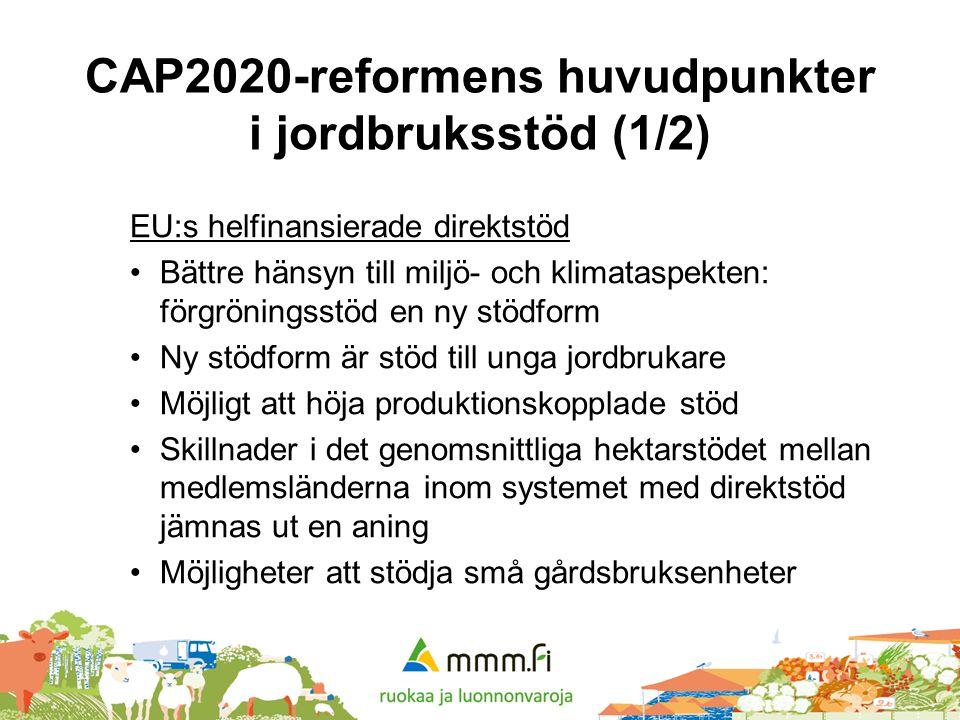 CAP2020-reformens huvudpunkter i jordbruksstöd (1/2) EU:s helfinansierade direktstöd •Bättre hänsyn till miljö- och klimataspekten: förgröningsstöd en