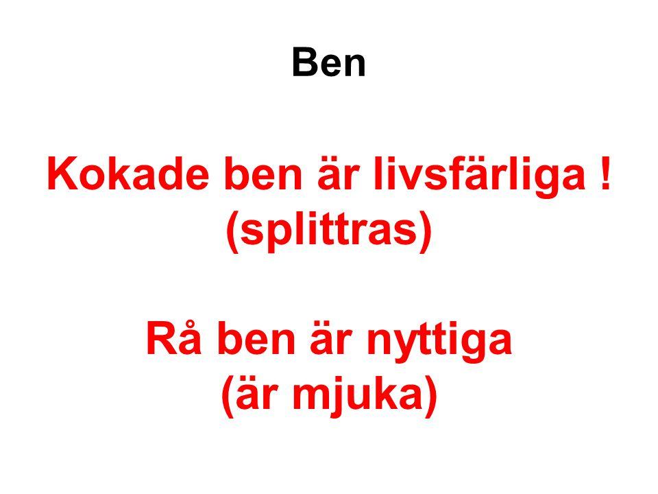 Ben Kokade ben är livsfärliga ! (splittras) Rå ben är nyttiga (är mjuka)