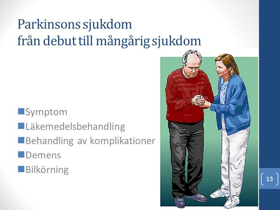 Parkinsons sjukdom från debut till mångårig sjukdom  Symptom  Läkemedelsbehandling  Behandling av komplikationer  Demens  Bilkörning 13