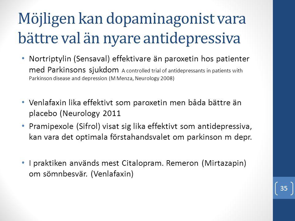Möjligen kan dopaminagonist vara bättre val än nyare antidepressiva • Nortriptylin (Sensaval) effektivare än paroxetin hos patienter med Parkinsons sj