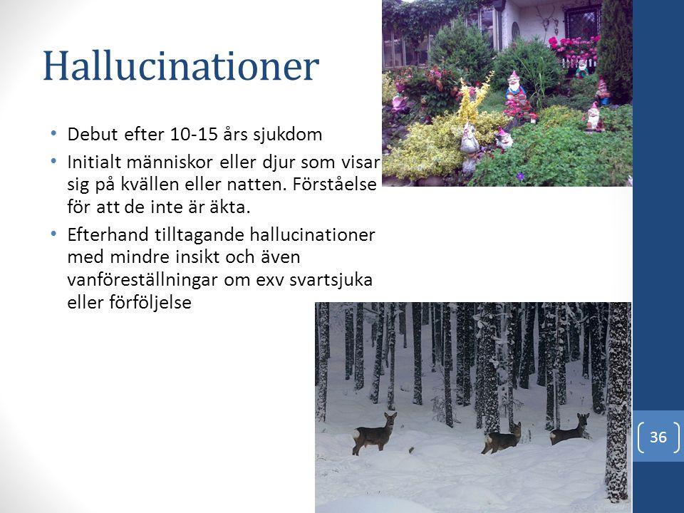 Hallucinationer • Debut efter 10-15 års sjukdom • Initialt människor eller djur som visar sig på kvällen eller natten. Förståelse för att de inte är ä