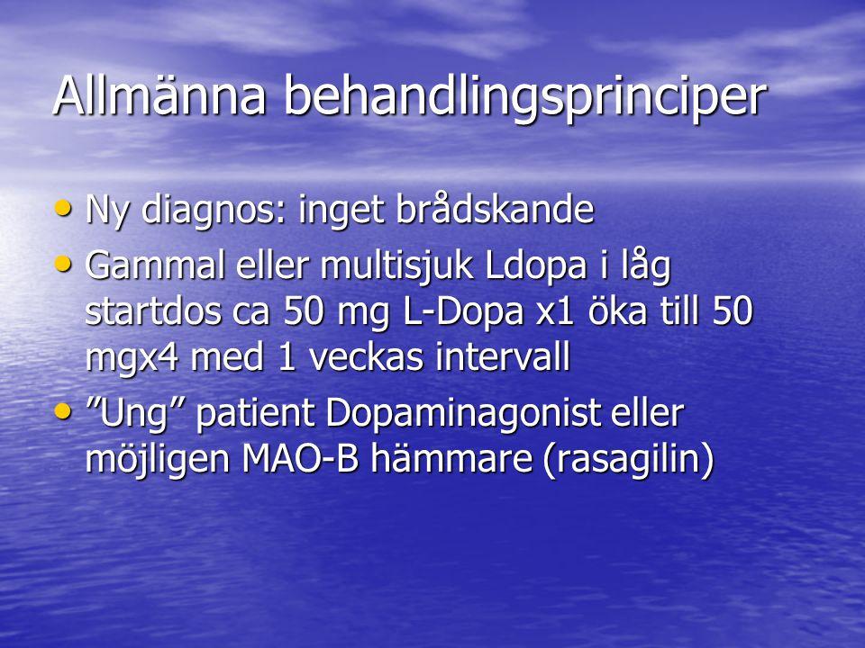 Allmänna behandlingsprinciper • Ny diagnos: inget brådskande • Gammal eller multisjuk Ldopa i låg startdos ca 50 mg L-Dopa x1 öka till 50 mgx4 med 1 v