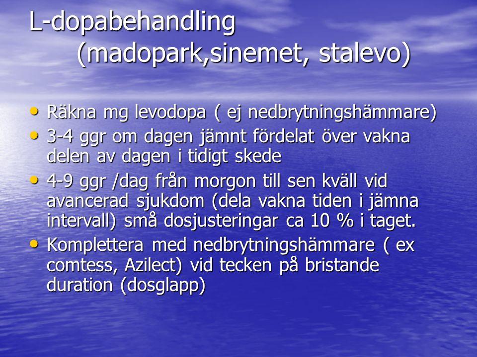 L-dopabehandling (madopark,sinemet, stalevo) • Räkna mg levodopa ( ej nedbrytningshämmare) • 3-4 ggr om dagen jämnt fördelat över vakna delen av dagen