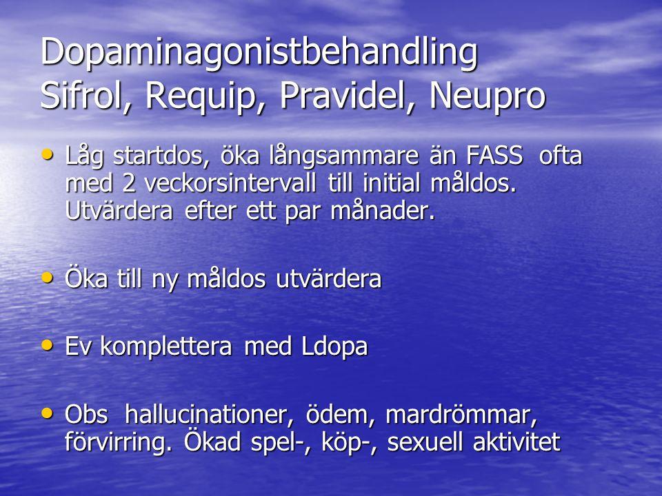 Dopaminagonistbehandling Sifrol, Requip, Pravidel, Neupro • Låg startdos, öka långsammare än FASS ofta med 2 veckorsintervall till initial måldos. Utv