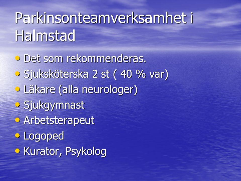 Parkinsonteamverksamhet i Halmstad • Det som rekommenderas. • Sjuksköterska 2 st ( 40 % var) • Läkare (alla neurologer) • Sjukgymnast • Arbetsterapeut
