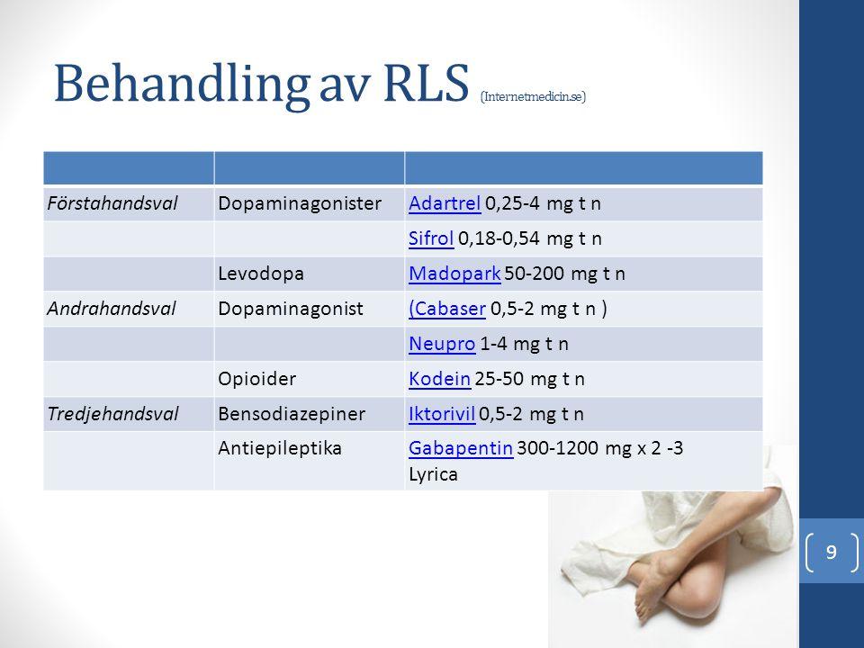Behandling av RLS (Internetmedicin.se) FörstahandsvalDopaminagonisterAdartrelAdartrel 0,25-4 mg t n SifrolSifrol 0,18-0,54 mg t n LevodopaMadoparkMado