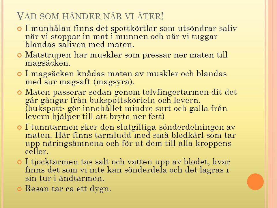 V AD SOM HÄNDER NÄR VI ÄTER .