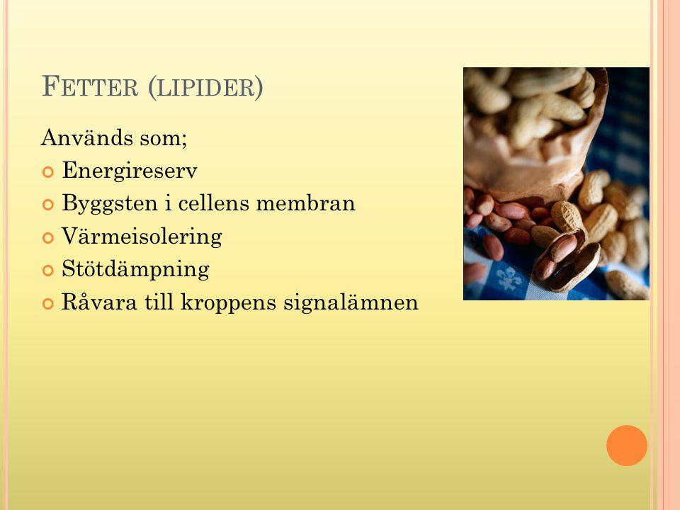 F ETTER ( LIPIDER ) Används som; Energireserv Byggsten i cellens membran Värmeisolering Stötdämpning Råvara till kroppens signalämnen