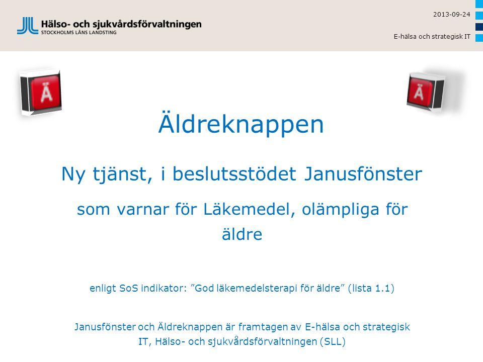 """Äldreknappen Ny tjänst, i beslutsstödet Janusfönster som varnar för Läkemedel, olämpliga för äldre enligt SoS indikator: """"God läkemedelsterapi för äld"""