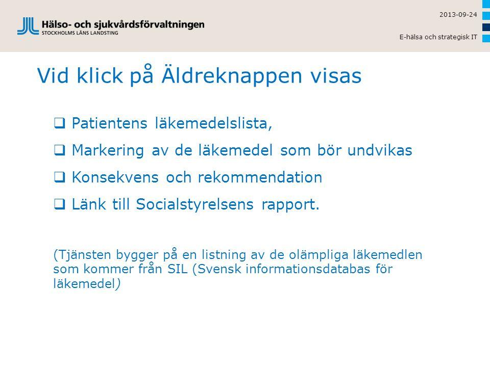 Vid klick på Äldreknappen visas 2013-09-24 E-hälsa och strategisk IT  Patientens läkemedelslista,  Markering av de läkemedel som bör undvikas  Kons