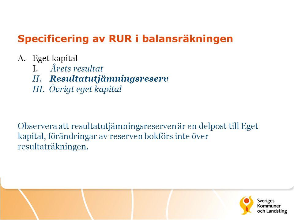 Specificering av RUR i balansräkningen A.Eget kapital I. Årets resultat II. Resultatutjämningsreserv III. Övrigt eget kapital Observera att resultatut