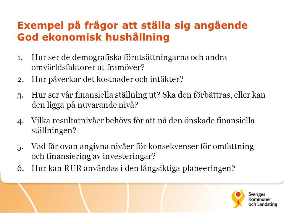 Exempel på frågor att ställa sig angående God ekonomisk hushållning 1.Hur ser de demografiska förutsättningarna och andra omvärldsfaktorer ut framöver.