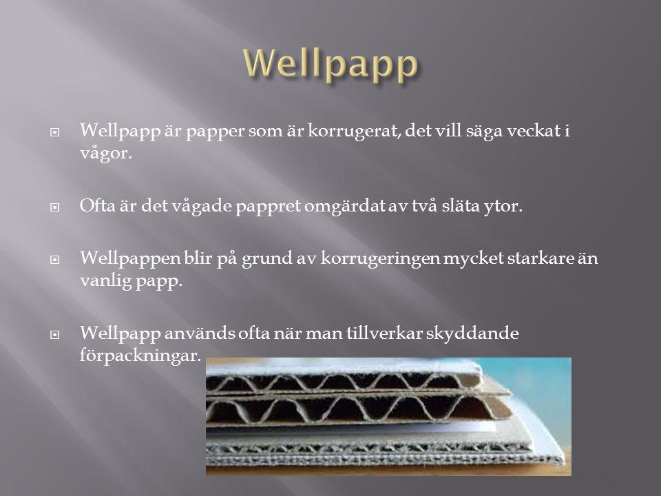  Wellpapp är papper som är korrugerat, det vill säga veckat i vågor.