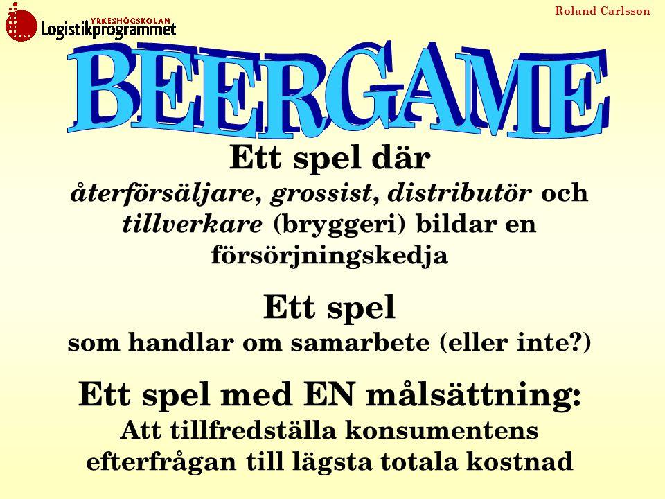 Roland Carlsson Ett spel där återförsäljare, grossist, distributör och tillverkare (bryggeri) bildar en försörjningskedja Ett spel som handlar om sama