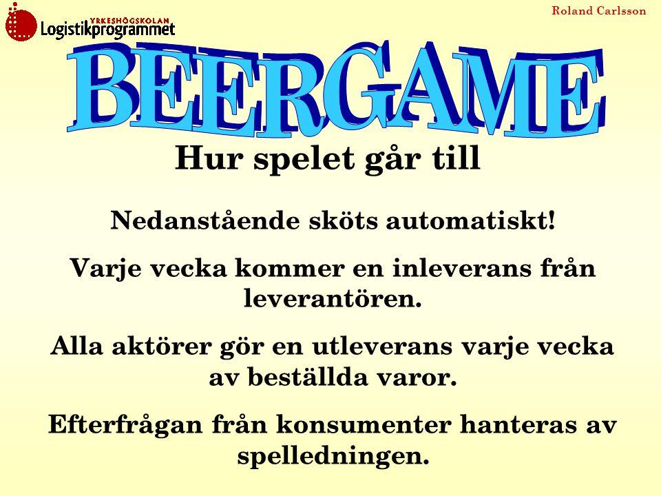 Roland Carlsson Hur spelet går till Nedanstående sköts automatiskt! Varje vecka kommer en inleverans från leverantören. Alla aktörer gör en utleverans