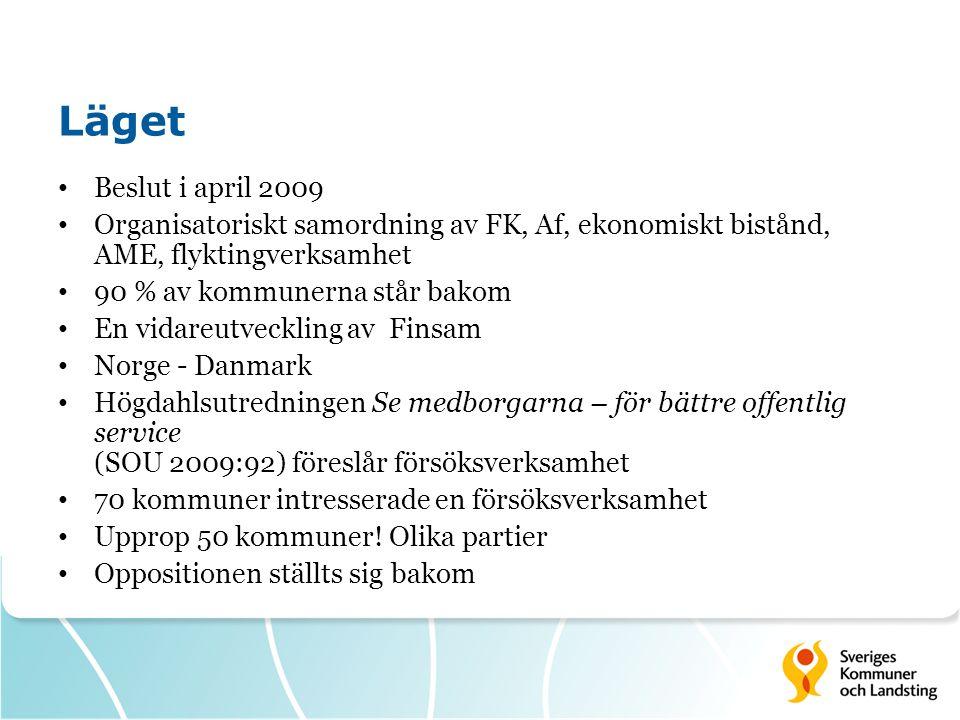 Läget • Beslut i april 2009 • Organisatoriskt samordning av FK, Af, ekonomiskt bistånd, AME, flyktingverksamhet • 90 % av kommunerna står bakom • En v