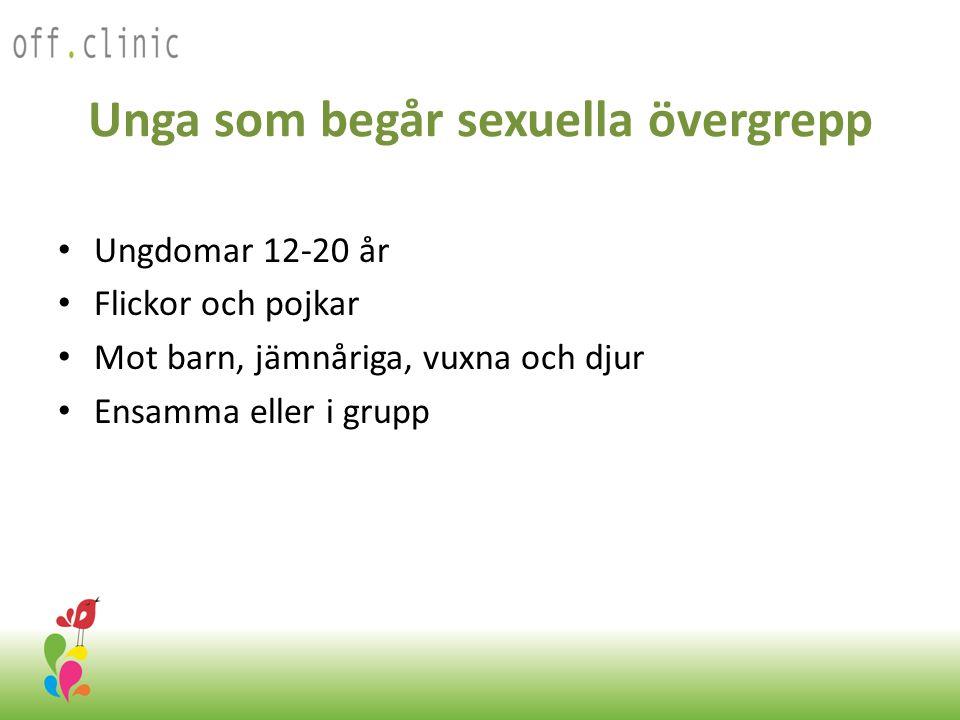 Unga som begår sexuella övergrepp • Ungdomar 12-20 år • Flickor och pojkar • Mot barn, jämnåriga, vuxna och djur • Ensamma eller i grupp Off.Clinic 2012