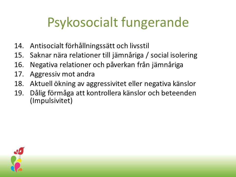 Psykosocialt fungerande 14.Antisocialt förhållningssätt och livsstil 15.Saknar nära relationer till jämnåriga / social isolering 16.Negativa relationer och påverkan från jämnåriga 17.Aggressiv mot andra 18.Aktuell ökning av aggressivitet eller negativa känslor 19.Dålig förmåga att kontrollera känslor och beteenden (Impulsivitet)