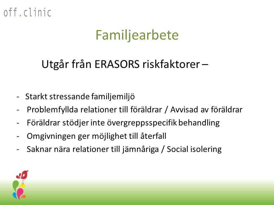 Familjearbete Utgår från ERASORS riskfaktorer – - Starkt stressande familjemiljö -Problemfyllda relationer till föräldrar / Avvisad av föräldrar -Föräldrar stödjer inte övergreppsspecifik behandling -Omgivningen ger möjlighet till återfall -Saknar nära relationer till jämnåriga / Social isolering