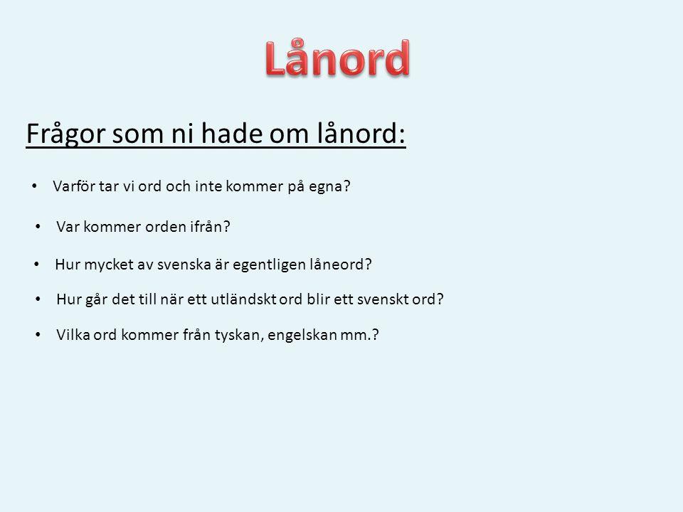 Frågor som ni hade om lånord: • Varför tar vi ord och inte kommer på egna? • Var kommer orden ifrån? • Hur mycket av svenska är egentligen låneord? •