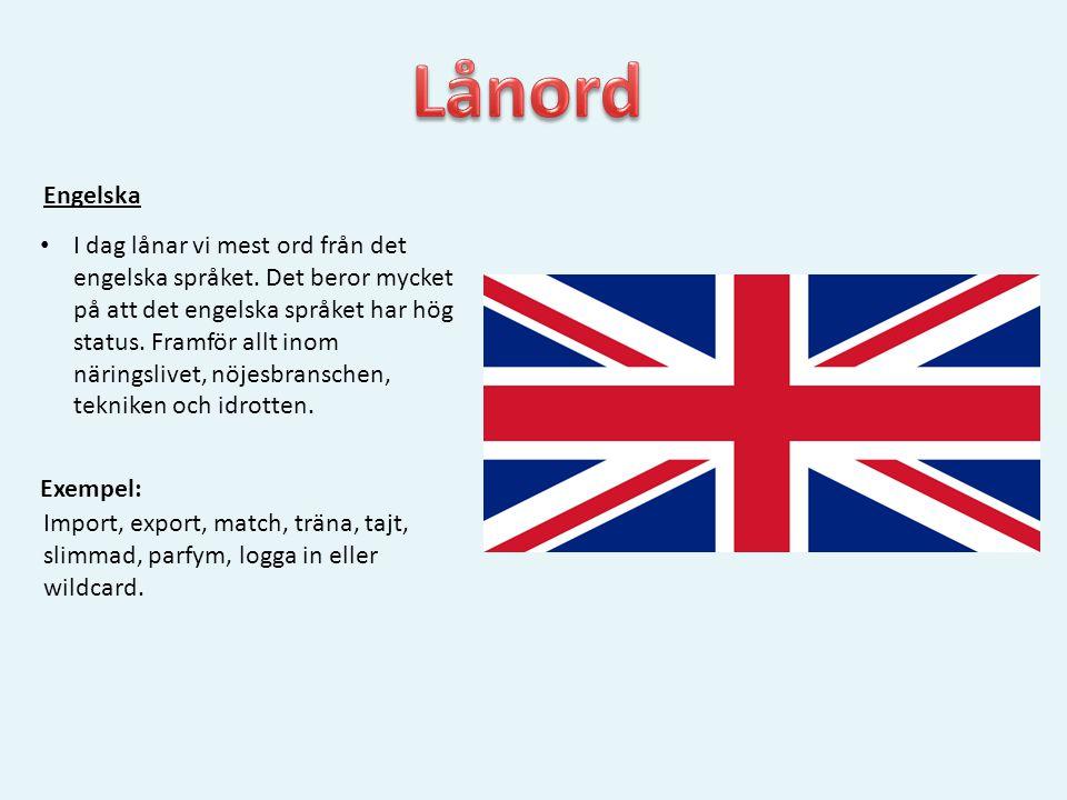 Engelska • I dag lånar vi mest ord från det engelska språket. Det beror mycket på att det engelska språket har hög status. Framför allt inom näringsli