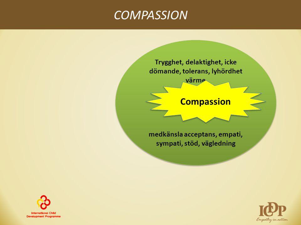 COMPASSION Trygghet, delaktighet, icke dömande, tolerans, lyhördhet värme medkänsla acceptans, empati, sympati, stöd, vägledning Trygghet, delaktighet