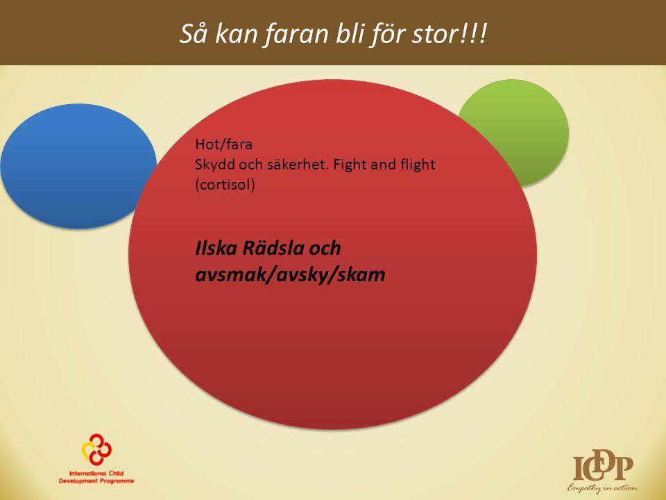 Så kan faran bli för stor!!! Hot/fara Skydd och säkerhet. Fight and flight (cortisol) Ilska Rädsla och avsmak/avsky/skam Hot/fara Skydd och säkerhet.