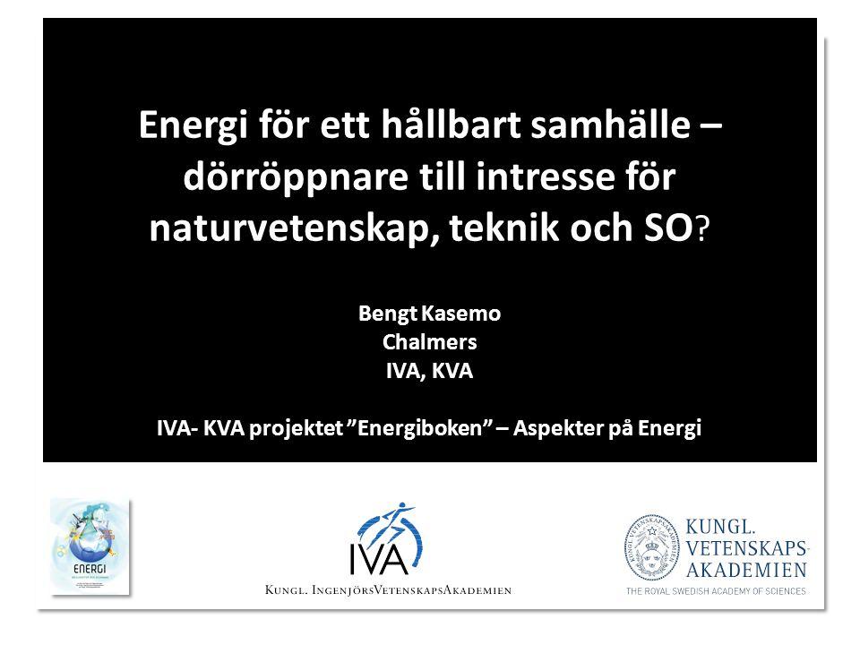 Prins Daniel Fellowship Energi för ett hållbart samhälle – dörröppnare till intresse för naturvetenskap, teknik och SO ? Bengt Kasemo Chalmers IVA, KV