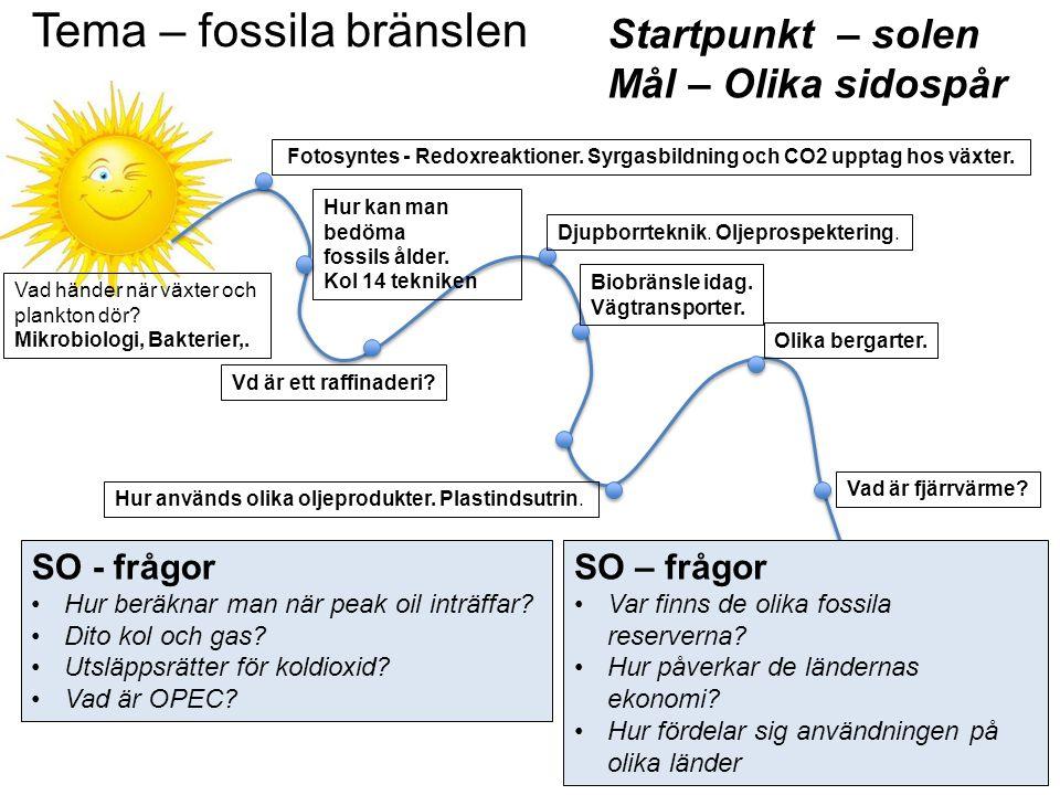 Tema – fossila bränslen Startpunkt – solen Mål – Olika sidospår Vad händer när växter och plankton dör? Mikrobiologi, Bakterier,. Fotosyntes - Redoxre
