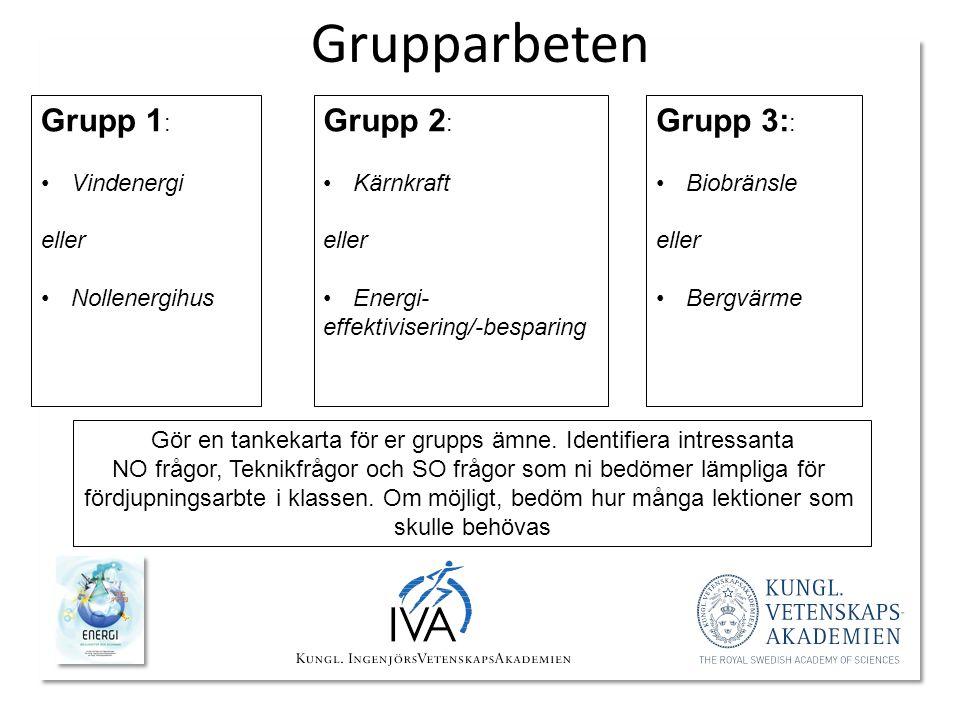 Grupparbeten Grupp 2 : •Kärnkraft eller •Energi- effektivisering/-besparing Grupp 1 : •Vindenergi eller •Nollenergihus Grupp 3: : •Biobränsle eller •B