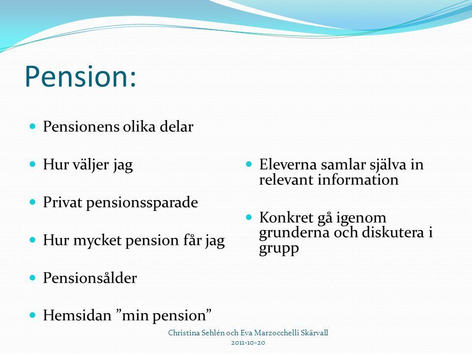 """Pension:  Pensionens olika delar  Hur väljer jag  Privat pensionssparade  Hur mycket pension får jag  Pensionsålder  Hemsidan """"min pension""""  El"""