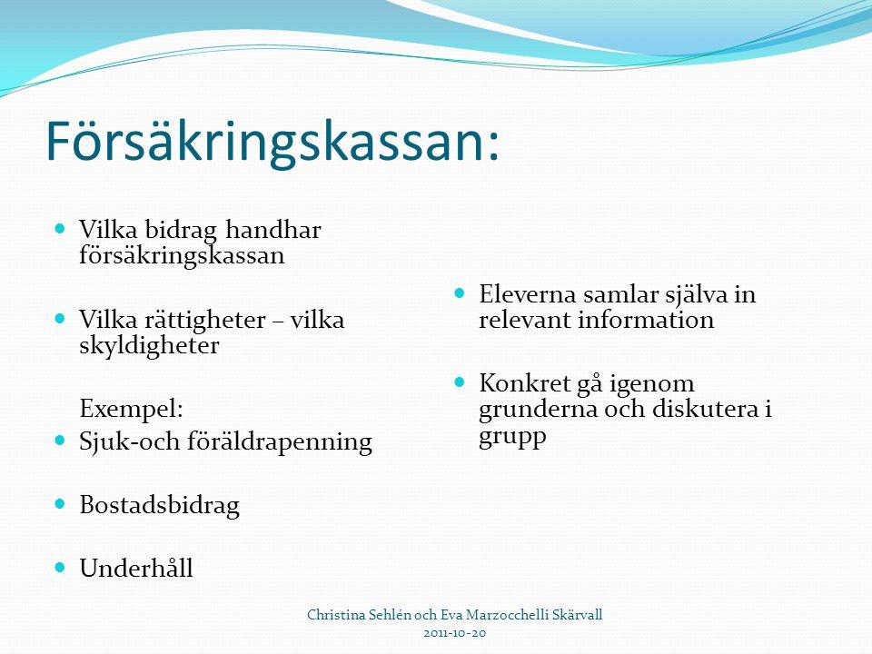 Försäkringskassan:  Vilka bidrag handhar försäkringskassan  Vilka rättigheter – vilka skyldigheter Exempel:  Sjuk-och föräldrapenning  Bostadsbidr