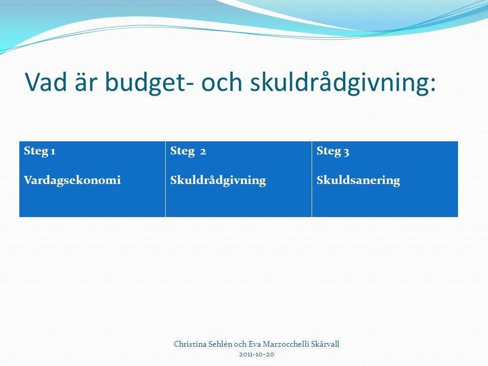 Vad är budget- och skuldrådgivning: Steg 1 Vardagsekonomi Steg 2 Skuldrådgivning Steg 3 Skuldsanering Christina Sehlén och Eva Marzocchelli Skärvall 2