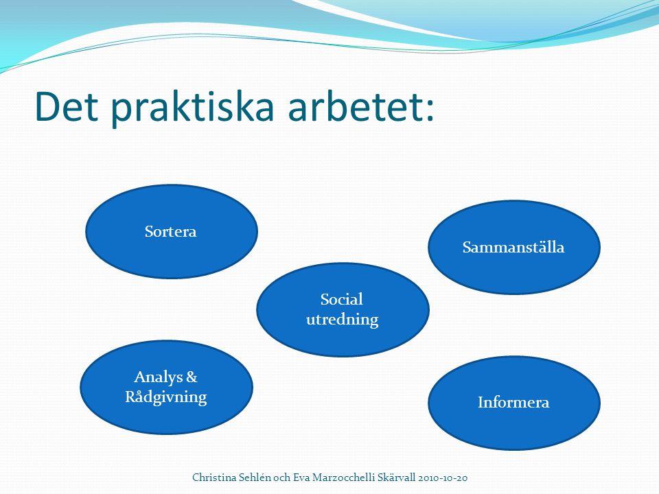 Det praktiska arbetet: Christina Sehlén och Eva Marzocchelli Skärvall 2010-10-20 Sortera Informera Analys & Rådgivning Sammanställa Social utredning