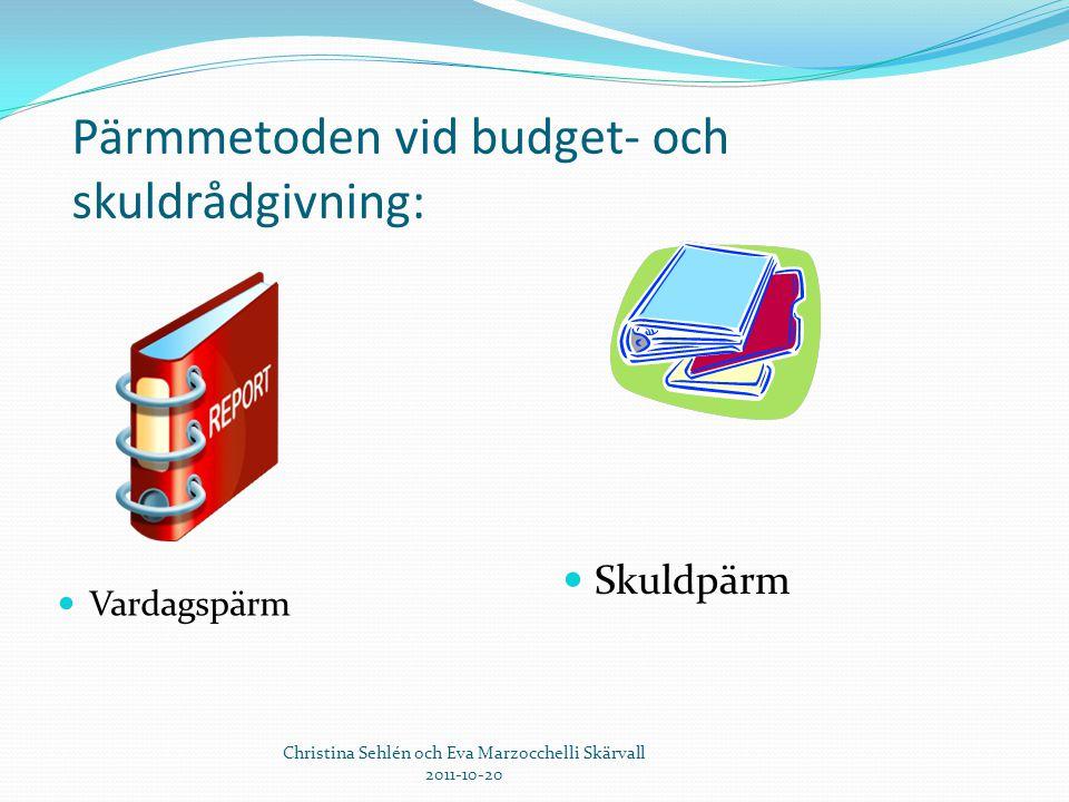 Pärmmetoden vid budget- och skuldrådgivning:  Vardagspärm  Skuldpärm Christina Sehlén och Eva Marzocchelli Skärvall 2011-10-20