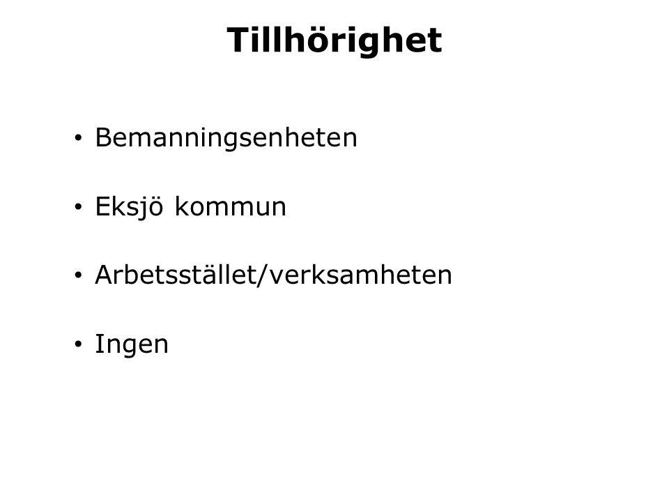 Tillhörighet • Bemanningsenheten • Eksjö kommun • Arbetsstället/verksamheten • Ingen